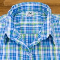 Grenouille Ladies 3/4 Sleeve Blue and Lime Check Seersucker Shirt